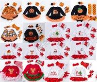 Bebés Meninas Natal macacãozinho Vestido manga comprida + Headband + Kneepad + Shoes Quatro peças Suit Halloween Crianças Pots Neve abóbora Macacões 0-2Y D82504