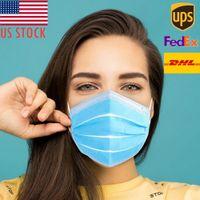 US Hot Sale monouso non ha tessuto 3 layer Ply bocca Maschera filtro maschera di protezione traspirante Earloops Mascherine Stock Clearance consegna veloce