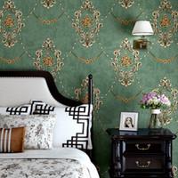미국의 소박한 빈티지 꽃 벽지 레트로 파랑, 녹색 배경 화면 롤 침실 장식 벽화 비 짠 벽 종이