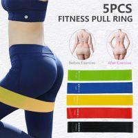 5pcs / set de Yoga bandas de resistencia de estiramiento de goma Loop Ejercicio Fitness Equipment entrenamiento de la fuerza del cuerpo Pilates entrenamiento de la fuerza CCA12441