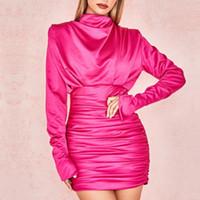 Adyce 2020 neue Sommer-Frauen Promi-Runway-Partei-Kleid Sexy lange Hülse Rose Rot Schwarz drapierte MiniBodycon Verein-Kleid Vestidos