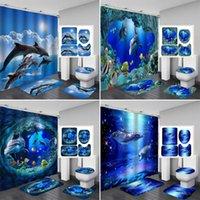 المحيط 3D تصميم دولفين نسيج مقاوم للماء الحمام ستارة الحمام الستائر مجموعة مضاد للانزلاق ماتس غطاء المرحاض تغطية حمام حصيرة