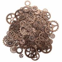 Charms ca. 120g / lot DIY Schmuckherstellung Vintage Metall Mischgetriebe Steampunk Getriebe Anhänger Armband Zubehör (alte rote Kuppe