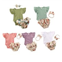 Säuglings-Baby-Mädchen-Kleidung Set Pure Color Short Sleeve Body Tops + Rüschen Floral Shorts + Stirnband Sommer-Outfit 3M-18M