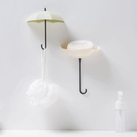 3PCS / 세트 귀여운 우산 벽걸이 키 홀더 벽 후크 걸이 주최자가 강한 투명 흡입 벽 어리버리 걸이 자체 후크