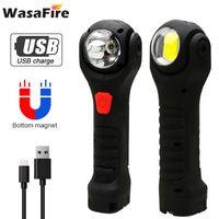 Lanternes portables XPE + COB 7 modes LED White Red White Red Light USB Rechargeable Crochet de la torche Rechargeable Lanterna pour la réparation de voitures