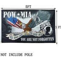 Özel Boyut Pow Mia Kartal Bayraklar 3x5ft, 100D Polyester Kumaş% 80 Bleed, Açık Kapalı Festivali Asma, Ücretsiz Kargo