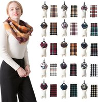 Winter Plaid Knitted Scarf Circle Ring Scarves Warm Neckwear Scarf Lady Fashion Outdoor Shawl Wrap Loop Striped Scarf Neckchief OOA8395