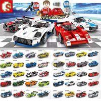 Bloques de construcción de la ciudad de Super Modelo corredores aceleran ladrillos de construcción de Campeones Racing Sport Car juguetes para los niños regalo