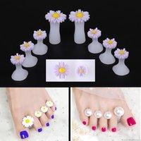 7 Separator Toe silicone 8pcs style Perle fleur de coeur Nail Art DIY Pied Finger Diviseur Manucure Soins Outils Soins des pieds