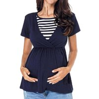 ARLONEET pregnancy t shirt Women Maternity Nursing Tops Patchwork Striped Breastfeeding T-Shirt ropa lactancia mujer 2019