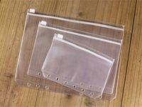 6-حفرة فضفاضة ورقة استلام حقيبة تخزين A6 شفافة سستة حقيبة ماء وثيقة شفافة حقيبة مدرسية المزود A07