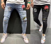 Men's Embroidery Label Skinny Jeans Hommes Ripped Pantalones Hombre Pantalones Hombre Jeans Para Denim Pencil Pants Man Jeansy