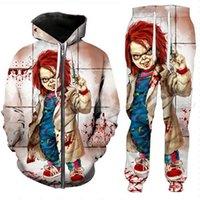 Rilascio dei nuovi uomini / donne di Halloween Bambino divertente 3D stampa di modo Tute pantaloni + Zipper Hoodie casual sportivo L07