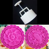 Riesen Runde 10 CM Mond-Kuchen-Form Hand Press Fisch Blumen Briefmarken Kunststoff Backen Gebäck Werkzeuge 250 Gramm Chinese Mooncake Mold