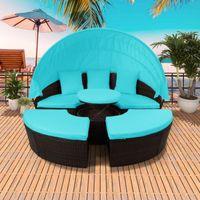 Stock de EE.UU., muebles de patio azul redondo Sofá seccional al aire libre conjunto Rattan Daybed Sunbed con dosel retráctil Altura Ajuste SH000086AAC