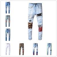 2020 Haute Qualité Hommes Jeans en détresse Moto Biker Jeans Slim Rived Hole Stripe célèbre Marque Denim Pantalon Hip Hop Jeans A-Z