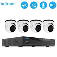 نظام Brillcam 4K 8MP كاميرا الأمن (1PCS 4K 8CH POE NVR، 4PCS 8MP IP كاميرات) كاميرا كشف الذكية AI المراقبة