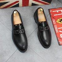 Nouveau style Hommes Chaussures en cuir Robe formelle Chaussures de mariage homme Costume élégant Chaussures de luxe Fashion Party Chaussures Toe Flats I263 Pointu