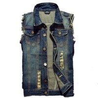 Denim Vest Hip 2019 uomini giacca di jeans strappati Hop Jean Cappotti Gilet Uomini Cowboy di marca senza maniche Giacca Maschio serbatoio Plus Size 6XL