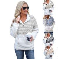 Designer Damen Sherpa VliesHoodie Warm Plüsch Pelz Pullover Pullover Art und Weise Striped Hälfte Zipper Blusen Outwear Plus Size Tops D91711