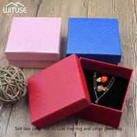 24PCS / الكثير مجوهرات الصندوق الأسود قلادة مربع لحلقة هدية ورق تغليف المجوهرات سوار عرض القرط مع الإسفنج