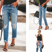 New blue Stretch Ripped Distressed Skinny women trousers Hig...
