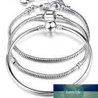 venta caliente 925 cadenas de plata esterlina AMOR 3mm serpiente 17-21CM pulsera brazalete cabida los granos Europea encanto de la manera DIY joyas