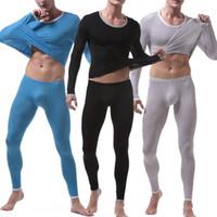 2PCS / set Men Sexy Ice Silk Long Johns Homens térmica Compression Set Underwear Transparent Inferior Underwear Fina Stretchy Legging
