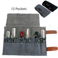 Echtes Leder Friseurs-Berufsherrenfriseur Scissor Beutel Fällen Salon Friseur-Schere-Werkzeug Holster Falttasche 12 Taschen
