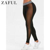 ZAFUL MESSH Panel Kontrast Bund Gamaschen Neue Mode Frauen Leggings Slim Elastizität Fitness Leggins Frau Hose