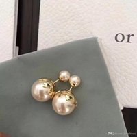 2020 European and American fashion custom pearl earrings imported brass inset pearl earrings