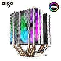 FANS COOLINGS AIGO L6 CPU Refrigeração 6 Tubos de Calor Torre Torre Torre De Calor 90mm LED Fan 3Pin Refrigerador Para Computador LGA775 / 115X / 1366 AM2 / AM3 / AM4
