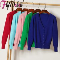 Flymokoii Donne Cardigan lavorato a maglia Maglione manica lunga con scollo a V Lady maglione solido di colore formato allentato casuale Crochet femminile Coat Top T200817