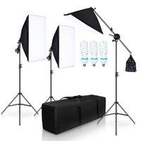 التصوير الفوتوغرافي Softbox ستوديو إضاءة عدة مع 3 حامل X 5500K لمبات الذراع صور فيديو المستمر لينة مربع الإضاءة مجموعة ليوتيوب