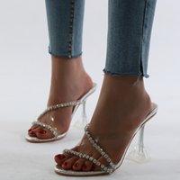 크리스탈 다이아몬드 크로스 밴드 지우기 스풀 뒤꿈치 샌들 라운드 발가락 여성 드레스 여름 캐주얼 슬라이드 신발 신발