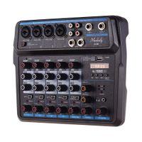 Freeshipping U4 / U6 Музыкальный Mini Mixer 3/6 каналов Аудио Миксеры BT USB Mixing Console со звуковой картой Встроенный 48В