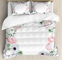 Conjuntos de ropa de cama Funda de anémona Funda de edredón Set Delicate Peony Rose Brunia Eucalipto Hojas Redondo Guirnalda Green Pink Blanco