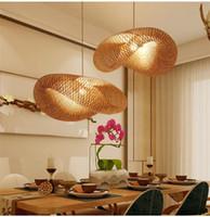 Ombre bambou en rotin et osier vague Pendant Light Fixture Suspension Home Décor Salon Suspensions Chambre d'appareils d'éclairage