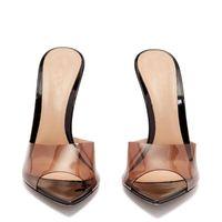 남여 남성 여성 섹시 샌들 클리어 하이힐 투명 뾰족한 발가락 스틸 레토 뒤꿈치 뮬 신발 샌들 빅 사이즈 42 43 44 45