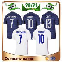 Frankreich 20/21 Euro Cup 2 Sterne # 10 Mbappe Fussball Jersey 2021 Home # 7 Griezmann Pogba Away White Shirt 13 Kante Football Uniform