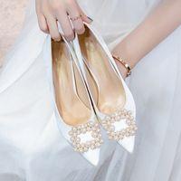 Обувь платье Baoyafang 2021 Осенняя белая свадьба свадебные высокие каблуки дамы большой размер женщина насос