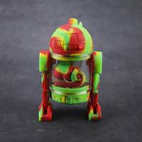 Mini silicona bong vaso de agua bong diseño del robot con la caja Proteja pipas de fumar vaso recipiente de vidrio de 14 mm