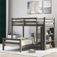 US gris Stock Double Taille Plus Lit simple avec échelle et de la Garde Rail, lit complet avec tablettes pour adultes enfants LP000021AAE