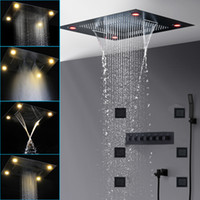 Luxury Black Shower Head Set Thermostatic Mixer Modern Large 800x600mm Waterfall Rain Spray Shower Panel With 4 Inch Body Jets