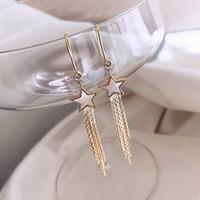 New Five zackigen Stern Troddel-Ohrringe weiblichen koreanischen Wind-Art-Temperament einfach lange Ohrring-Ohr-Linie Großhandel