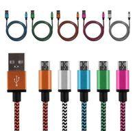 Stoff-Ladegerät Kabel 1M 2M 3M Micro V8 Typ C USB-Datumskabel für Samsung S4 S6 S7 Rand LG Xiaomi