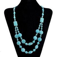 Turquoise Stone Coukers Colliers Mode MultiLayer Déclaration Bijoux Vintage Bohême Perles Chaîne Chaîne Perles Collier de Noël Cadeaux de Noël pour femmes