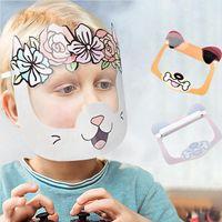LJJP423 máscara máscaras de dibujos animados para niños Transparente de la cara llena Claro Escudo partido Protección niño lindo reutilizable del polvo anti salpicaduras Niebla facial