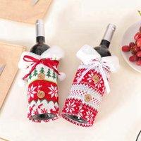 Новый Рождество Вино Крышка с луком Элк Снежинка Knit бутылки одежды бутылки вина Обложка Xmas Вино сумка Рождественские украшения украшения CYZ2744